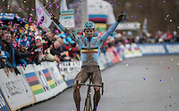 Wout Van Aert (BEL/Crelan-Willems) is CX World Champion once again<br /> <br /> Men's Race<br /> UCI 2017 Cyclocross World Championships<br /> <br /> january 2017, Bieles/Luxemburg