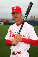 February 24, 2010:  Outfielder Quintin Berry (63) of the Philadelphia Phillies poses during photo day at Bright House Field in Clearwater, FL.  Photo By Mike Janes/Four Seam Images