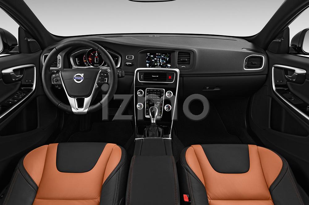 Stock photo of straight dashboard view of 2017 Volvo S60 T5 Platinum 4 Door Sedan