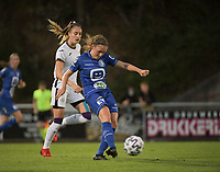 Emma Van Britsom (6) of AA Gent Ladies and Tessa Wullaert (27) of Anderlecht pictured during a female soccer game between RSC Anderlecht Dames and AA Gent Ladies  on the fourth matchday of the 2021 - 2022 season of Belgian Womens Super League , friday 10 th of September 2021 in Overijse , Belgium . PHOTO SPORTPIX | DIRK VUYLSTEKE