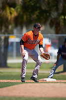 Baltimore Orioles Seamus Curran (11) during a minor league Spring Training game against the Minnesota Twins on March 17, 2017 at the Buck O'Neil Baseball Complex in Sarasota, Florida.  (Mike Janes/Four Seam Images)