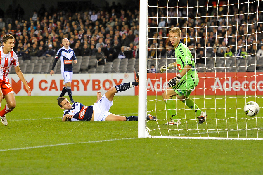 MELBOURNE, AUSTRALIA - MAY 19: Petar Franjic of the Victory kicks an own goal during a match between Melbourne Victory and Olympiakos FC at Etihad Stadium on 19 May 2012 in Melbourne, Australia. (Photo Sydney Low / AsteriskImages.com)