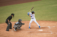 Mesa Solar Sox shortstop Nico Hoerner (17), of the Chicago Cubs organization, at bat in front of catcher Mario Feliciano (6) and home plate umpire Blake Carnahan during an Arizona Fall League game against the Peoria Javelinas at Sloan Park on October 11, 2018 in Mesa, Arizona. Mesa defeated Peoria 10-9. (Zachary Lucy/Four Seam Images)