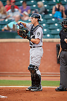 Jackson Generals catcher Marcus Littlewood (16) in front of home plate umpire Ben Sonntag during a game against the Chattanooga Lookouts on May 9, 2018 at AT&T Field in Chattanooga, Tennessee.  Chattanooga defeated Jackson 4-2.  (Mike Janes/Four Seam Images)