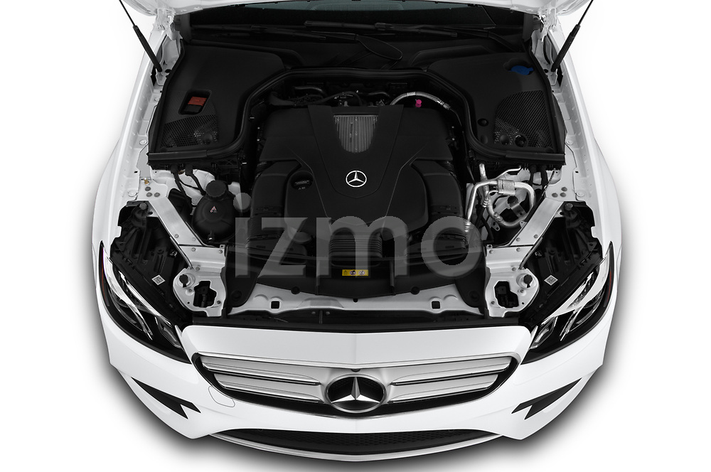 Car stock 2020 Mercedes Benz E-Class  E450 5 Door Wagon engine high angle detail view