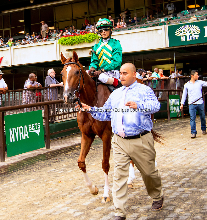 JULY 06, 2019 :  Code of Honor with John Velazquez, wins the Dwyer Stakes, for 3 year olds at Belmont Park, in Elmont, NY, July 6, 2019.  Sue Kawczynski_ESW_CSM