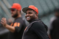 SAN FRANCISCO, CA - MAY 14:  Pablo Sandoval #48 of the San Francisco Giants takes batting practice before the game against the Toronto Blue Jays at Oracle Park on Tuesday, May 14, 2019 in San Francisco, California. (Photo by Brad Mangin)