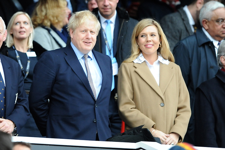 Prime Minister Boris Johnson with fiancé Carrie Symonds during the Guinness Six Nations match between England and Wales at Twickenham Stadium on Saturday 7th March 2020 (Photo by Rob Munro/Stewart Communications)