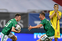 4th September 2020, Bucharest, Romania;  Romania versus Northern Ireland - UEFA Nations League B, Gavin Whyte of Northern Ireland celebrates his goal during the UEFA Nations League B match