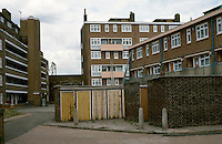 London:  Council Housing, Borough of Stepney.  On left, 1937, Harry Barnes and Partners; on right, newer--1960's? Photo '90.