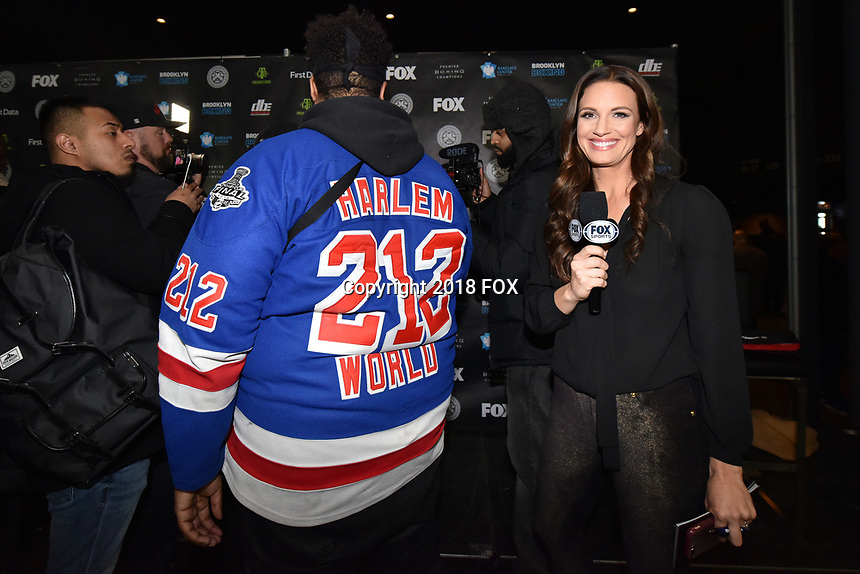 BROOKLYN, NY - DECEMBER 20: Heidi Androl (r), American sports reporter, attends the Fox Sports and Premier Boxing Champions press conference for the December 22 Fox PBC Fight Night at the Barclay Center on December 20, 2018 in Brooklyn, New York. (Photo by Anthony Behar/Fox Sports/PictureGroup)