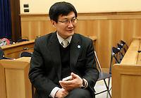 Kim Tae Jin, ex prigioniero del campo di concentramento nordcoreano di Yodok, ritratto al termine di una conferenza stampa sulla questione dei diritti umani in Corea del Nord, a Roma, 6 marzo 2012. Detenuto nel campo di concentramento di Yodok, Corea del Nord dal 1992 al 1997, dopo la sua fuga in Cina e poi in Corea del Sud, si batte per la promozione dei diritti umani in Corea del Nord..North Korean former prisoner of Yoduk's facility Kim Tae Jin is portrayed at the end of a press conference on human rights in North Korea, in Rome, 6 march 2012. Tae Jin, who was interned from 1992 to 1997, escaped to China and then to South Korea..UPDATE IMAGES PRESS/Riccardo De Luca