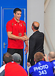 Wales' Calum Jarvis receives his medal from the Earl of Wessex winning a bronze medal in the men's 200m freestyle final<br /> <br /> Photographer Chris Vaughan/Sportingwales<br /> <br /> 20th Commonwealth Games - Day 2 - Friday 25th July 2014 - Swimming - Tollcross International Swimming Centre - Glasgow - UK