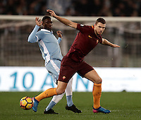 Calcio, Serie A: Roma, stadio Olimpico, 1marzo 2017.<br /> Roma's Edin Dzeko (r) in action with Jacinto Quissanga Bastos (l) during the Italian TIM Cup 1st leg semifinal football match between Lazio and AS Roma at Rome's Olympic stadium, on March 1, 2017.<br /> UPDATE IMAGES PRESS/Isabella Bonotto