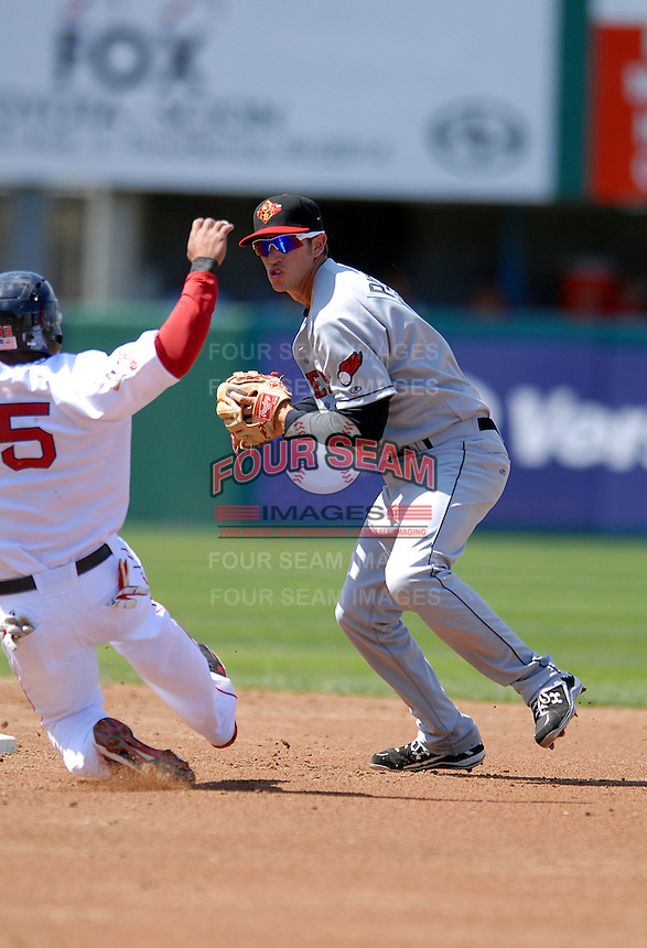 SS Trevor Plouffe (# 1) of the Rochester Red Wings, the AAA International League affiliate of the Minnesota Twins, at McCoy Stadium in Pawtucket, RI  (Photo by Ken Babbitt/Four Seam Images)