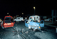 Remains of a car involved in a road traffic accident. The car was stolen and used for joyriding and crashed into an oncoming vehicle causing both drivers to be seriously injured. Firefighters and paramedic ambulance crews attended the R.T.A.