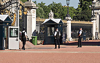 Royalty and Diplomatic Department Metropolitan Police, on patrol within the grounds of Buckingham Palace, London UK.
