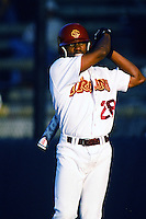 Jacque Jones of the USC Trojans waits to bat during a 1996 NCAA baseball season game at Dedeaux Field in Los Angeles, California. (Larry Goren/Four Seam Images)