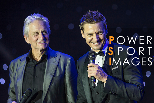 Michael Douglas (second from left or left) and Jeremy Renner (second from right or right) during the Opening Ceremony of the the World Celebrity Pro-Am 2016 Mission Hills China Golf Tournament on 20 October 2016, in Haikou, China. Photo by Victor Fraile / Power Sport Images