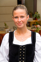 Beautiful waitress in traditional dress,Cesky Krumlov, Czech Republic