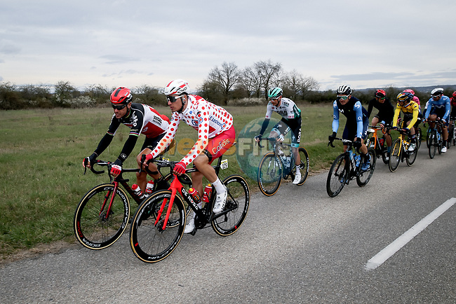Polka Dot Jersey Anthony Perez (FRA) Cofidis chats to Philippe Gilbert (BEL) Lotto-Soudal during Stage 5 of Paris-Nice 2021, running 200km from Vienne to Bollene, France. 11th March 2021.<br /> Picture: ASO/Fabien Boukla | Cyclefile<br /> <br /> All photos usage must carry mandatory copyright credit (© Cyclefile | ASO/Fabien Boukla)