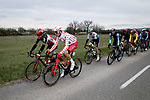 Polka Dot Jersey Anthony Perez (FRA) Cofidis chats to Philippe Gilbert (BEL) Lotto-Soudal during Stage 5 of Paris-Nice 2021, running 200km from Vienne to Bollene, France. 11th March 2021.<br /> Picture: ASO/Fabien Boukla   Cyclefile<br /> <br /> All photos usage must carry mandatory copyright credit (© Cyclefile   ASO/Fabien Boukla)