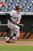 Maryland Terrapins Anthony Papio (3) swings during the Big Ten Tournament game against the Indiana Hoosiers at TD Ameritrade Park on May 25, 2016 in Omaha, Nebraska.  Maryland  won 5-3.  (Dennis Hubbard/Four Seam Images)