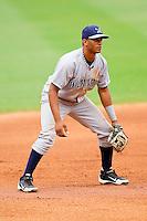 Wilmington Blue Rocks third baseman Angel Franco #11 on defense against the Winston-Salem Dash at BB&T Ballpark on June 10, 2012 in Winston-Salem, North Carolina.  The Dash defeated the Blue Rocks 2-0.  (Brian Westerholt/Four Seam Images)