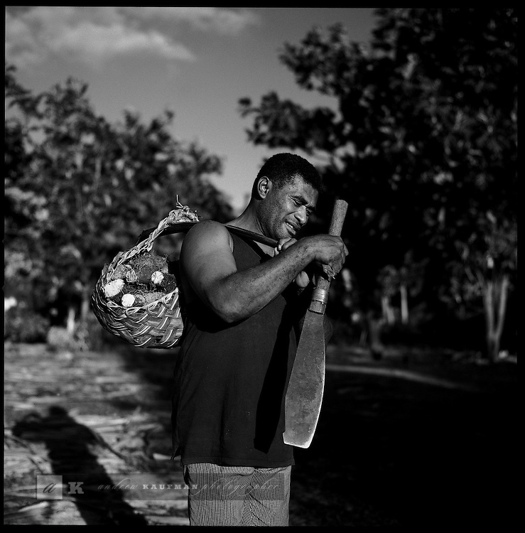 Fiji.  A local villager on the Yasawa's chain of islands collects local roots and starches for the village food supply.  Fiji is a popular diving and snorkeling destination. However Fiji's coral reefs are faced by land pollution, overfishing, blast fishing and bleaching. Because of an increase in sea temperatures the coral turns white and eventually dies. Coral bleaching is a result of global warming. Here a local villager on the southern shores of Viti Levu scours the coastline for octupus and other marine creatures useful in everyday life.