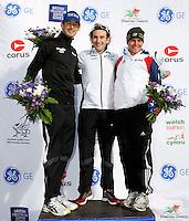Photo: Richard Lane/Richard Lane Photography. GE Parc Bryn Bach Triathlon. 19/09/2010. (lt to rt) Stuart Hayes (2nd) , Tim Don (1st) and Tom Bishop (3rd) of England on the podium for the 2010 Elite Men's Super Series.