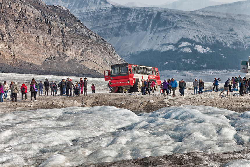 Tourists keeping cool in August during a tour of the Athabasca Glacier in Jasper National Park.