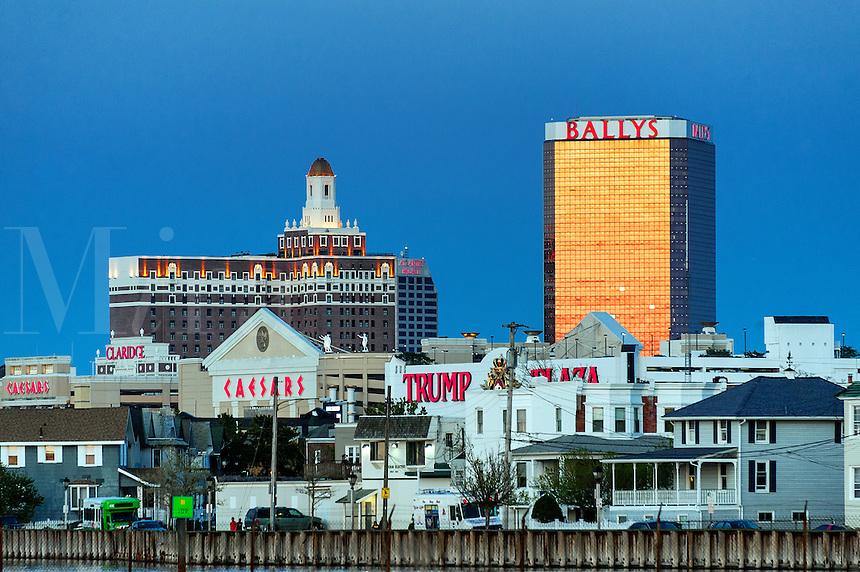 Atlantic City skyline at night, AC, NJ, New Jersey, USA