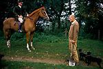 'DUKE OF BEAUFORT HUNT', PROFFESSIONAL HUNTSMEN, (R) TERRIER MAN  NICK STEVENS , & (L) ON HORSEBACK, CHARLES WHEELER, FIRST WHIPPER-IN
