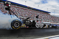 Sept. 18, 2011; Concord, NC, USA: NHRA top fuel dragster driver Larry Dixon during the O'Reilly Auto Parts Nationals at zMax Dragway. Mandatory Credit: Mark J. Rebilas-