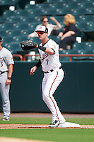 Bowie Baysox first baseman Joey Terdoslavich (7) waits for a throw during the second game of a doubleheader against the Akron RubberDucks on June 5, 2016 at Prince George's Stadium in Bowie, Maryland.  Bowie defeated Akron 12-7.  (Mike Janes/Four Seam Images)