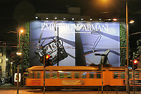 - Milan, Armani advertising in Cusani square....- Milano, pubblicità Armani in largo Cusani