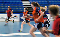 06 APR 2012 - LONDON, GBR - Heidi Møller Jensen (second from left) leads a charge up the court during a British women's team training session at the National Sports Centre in Crystal Palace, Great Britain  (PHOTO (C) 2012 NIGEL FARROW)