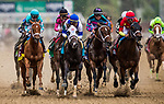 LOUISVILLE, KY - MAY 04: Monomoy Girl #14 with Florent Geroux battles for the position on the outside in the Longines Kentucky Oaks at Churchill Downs on May 4, 2018 in Louisville, Kentucky. (Photo by Alex Evers/Eclipse Sportswire/Getty Images)