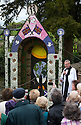 14/05/15<br /> <br /> Yew Tree Well.<br /> <br /> To mark ascension day this year's well dressings are unveiled and blessed by the local clergy in the Derbyshire village of Tissington in the Peak District National Park.<br /> <br /> Before today's blessings, wooden boards coated in clay are decorated with tens of thousands of petals, leaves and pieces of foliage to create the giant intricate mosaics. The boards,  take teams of many villagers three days to make. <br /> <br /> The village has been decorating its six wells every year for more than six hundred years. The tradition is believed to be a celebration of the wells never running dry, giving life and  sustaining the village during times of plague. After a church service today (Thursday)  clergy from six parish will bless each of the well.  <br /> <br /> Following in Tissington's footsteps many other villages in the Derbyshire area also have their own well dressing traditions.<br /> <br /> <br /> All Rights Reserved: F Stop Press Ltd. +44(0)1335 418629   www.fstoppress.com.