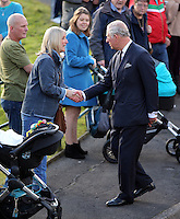 Pictured: Prince Charles greets people after visiting the Memorial Garden Friday 21 October 2016<br /> Re: Wales has fallen silent as the country remembered the Aberfan disaster 50 years ago.<br /> On 21 October 1966, a mountain of coal waste slid down into a school and houses in the Welsh village, killing 144 people, including 116 children.<br /> A day of events to commemorate the disaster included a service at Aberfan Cemetery at 9:15am on Friday.<br /> Prince Charles is visiting Aberfan memorial garden before unveiling a plaque in memory of the victims.<br /> He will also attend a reception with the families of some of those who lost their lives, before signing a book of remembrance.