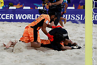 28th August 2021; Luzhniki Stadium, Moscow, Russia: FIFA World Cup Beach Football tournament; Semi final match Japan versus Senegal: Yusuke Kawai and Tomoya Ginoza from Japan celebrate the victory after the match between Japan and Senegal