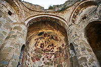 Pictures & images of the medieval Georgian Orthodox apse fresco of the Hodegetria, 16th century,  Ninotsminda Cathedral ruins, Sagarejo, in the Kakheti region, Georgia (country).<br /> <br /> Ninotsminda Cathedral is a highly important Georgian architectural building, which served as a model for the development of the later tetraconch, four-apse design of church.