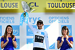Egan Bernal (COL) Team Ineos retains the young riders White Jersey at the end of Stage 11 of the 2019 Tour de France running 167km from Albi to Toulouse, France. 17th July 2019.<br /> Picture: ASO/Alex Broadway   Cyclefile<br /> All photos usage must carry mandatory copyright credit (© Cyclefile   ASO/Alex Broadway)