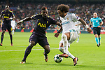 Real Madrid Marcelo and Tottenham Serge Aurier during UEFA Champions League match between Real Madrid and Tottenham at Santiago Bernabeu in Madrid, Spain October 17, 2017. (ALTERPHOTOS/Borja B.Hojas)