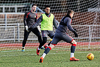 Pictured: Lamar Renolds (C) defends the ball. Thursday 18 January 2018<br /> Re: Players and staff of Newport County Football Club prepare at Newport Stadium, for their FA Cup game against Tottenham Hotspur in Wales, UK