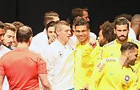 Toni Kroos (Deutschland Germany) mit seinen Madrider Mannschaftskollegen Marcelo (Brasilien Brasilia), Casemiro (Brasilien Brasilia) - 27.03.2018: Deutschland vs. Brasilien, Olympiastadion Berlin