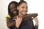 Portrait of two high school senior girls, friends