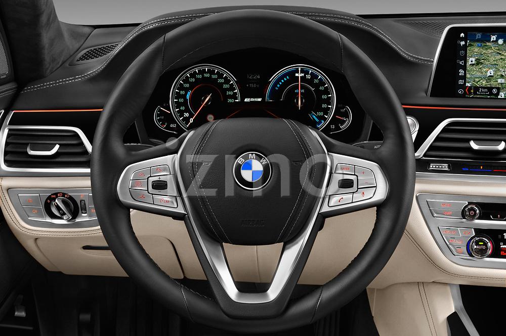Car pictures of steering wheel view of a 2018 BMW 7-Series-Plug-In-Hybrid 740Le-iPerformance 4 Door Sedan Steering Wheel