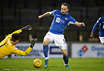 Ayr United v St Johnstone…..08.02.20   Somerset Park   Scottish Cup 5th Round<br />Chris Kane is denied by Ross Doohan<br />Picture by Graeme Hart.<br />Copyright Perthshire Picture Agency<br />Tel: 01738 623350  Mobile: 07990 594431