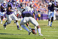 TCU wide receiver Deante' Gray (20) picks up a kick ball during second half of an NCAA football game, Saturday, October 18, 2014 in Fort Worth, Tex. TCU defeated Oklahoma State 42-9. (Mo Khursheed/TFV Media via AP Images)